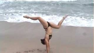 Handstands, back flips - Cassie Drew, Costa Rica beach