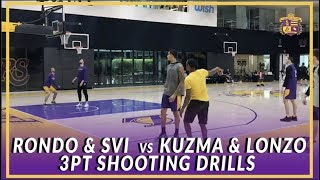 Lakers Shoot Around: Lonzo & Kuzma vs Rondo & Svi Three Point Shooting Competition