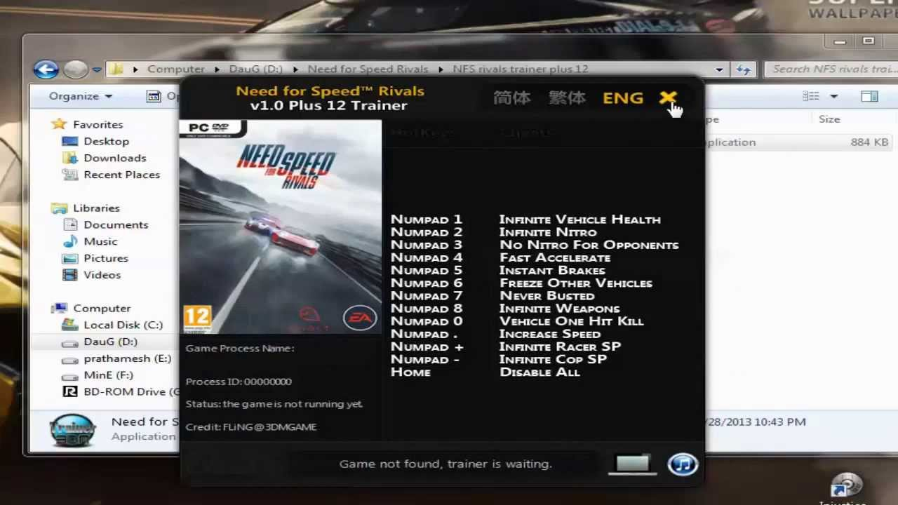 Need for speed ~ rivals: трейнер/trainer (+13) [1. 1: 64 bit.