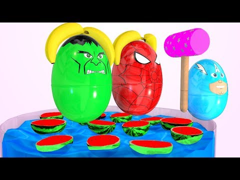 Thumbnail: Learn Colors with Cars Superhero Watermelon Pool Kids Nursery Rhymes for Children Colours
