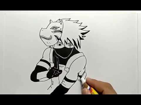 Belajar Membuat Gambar Komik Anime Kakashi Naruto Coretan Hitam Putih