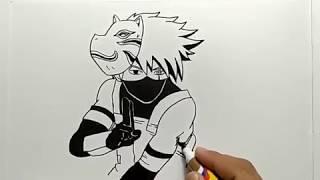 Belajar membuat gambar komik anime kakashi ( Anime Naruto )