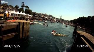 Sail boat crashes and starts sinking after hitting a bridge! WTF?!