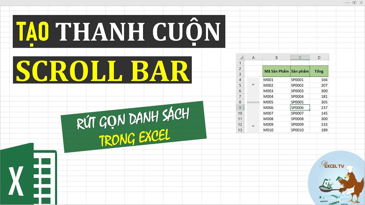 Cách tạo thanh cuộn scroll bar để thu gọn dữ liệu trong excel