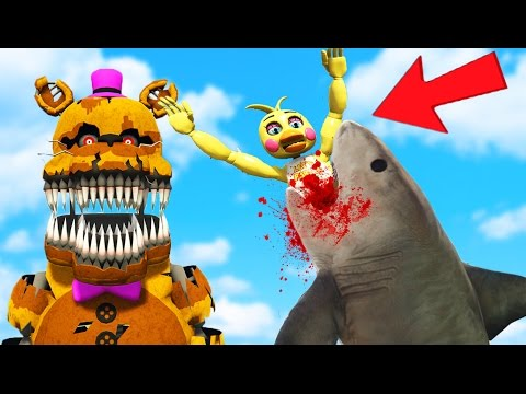 ULTIMATE NIGHTMARE ANIMATRONIC SHARK GUN MOD! (GTA 5 Mods FNAF Funny Moments)