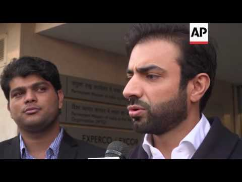 Bugti speaks outside Indian consulate in Geneva