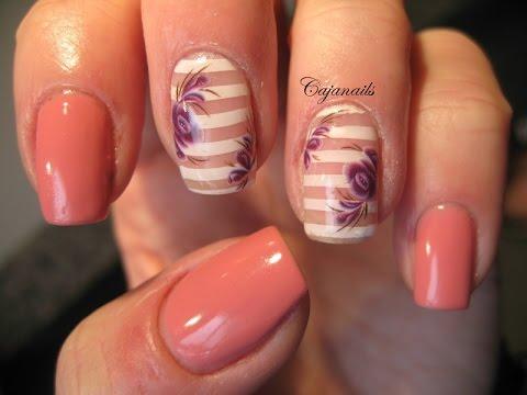 Nail art: Pink/coral gelpolish and striped nails with flowers - Nail Art: Pink/coral Gelpolish And Striped Nails With Flowers - YouTube