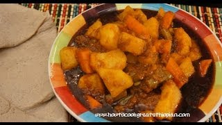 Ethiopian Food - Vegetable Wot wat wet Recipe - Stew Amharic English Injera Pumpkin Duba Berbere