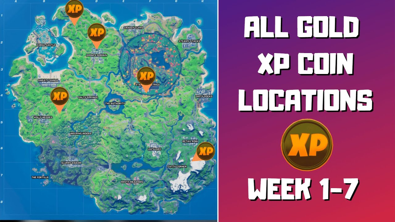 All 5 Gold Xp Coins Locations In Fortnite Week 1 7 Good As Gold Punch Card Youtube