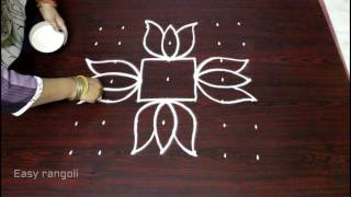 lotus flower muggulu designs with 7x7 dots || flower kolam designs || easy rangoli art designs