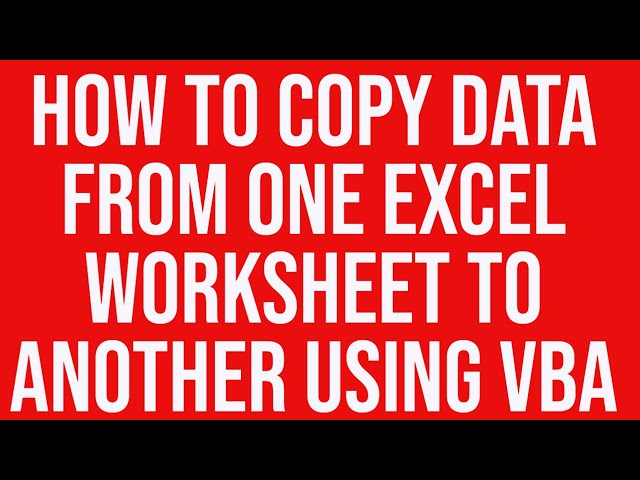 Copy Paste Data from one Excel Worksheet to Another Using VBA – Vba Copy Worksheet