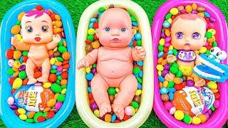 Satisfying ASMR Video l Rainbow Color Yummy Candy Mixing with Three Magic Bathtubs - Cutting ASMR