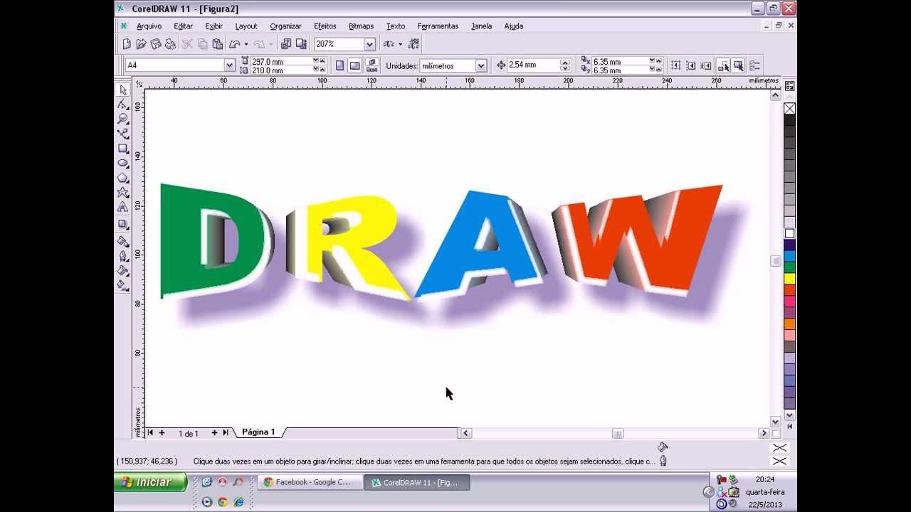 corel draw aula 33 criando texto com efeito 3d no corel draw youtube. Black Bedroom Furniture Sets. Home Design Ideas