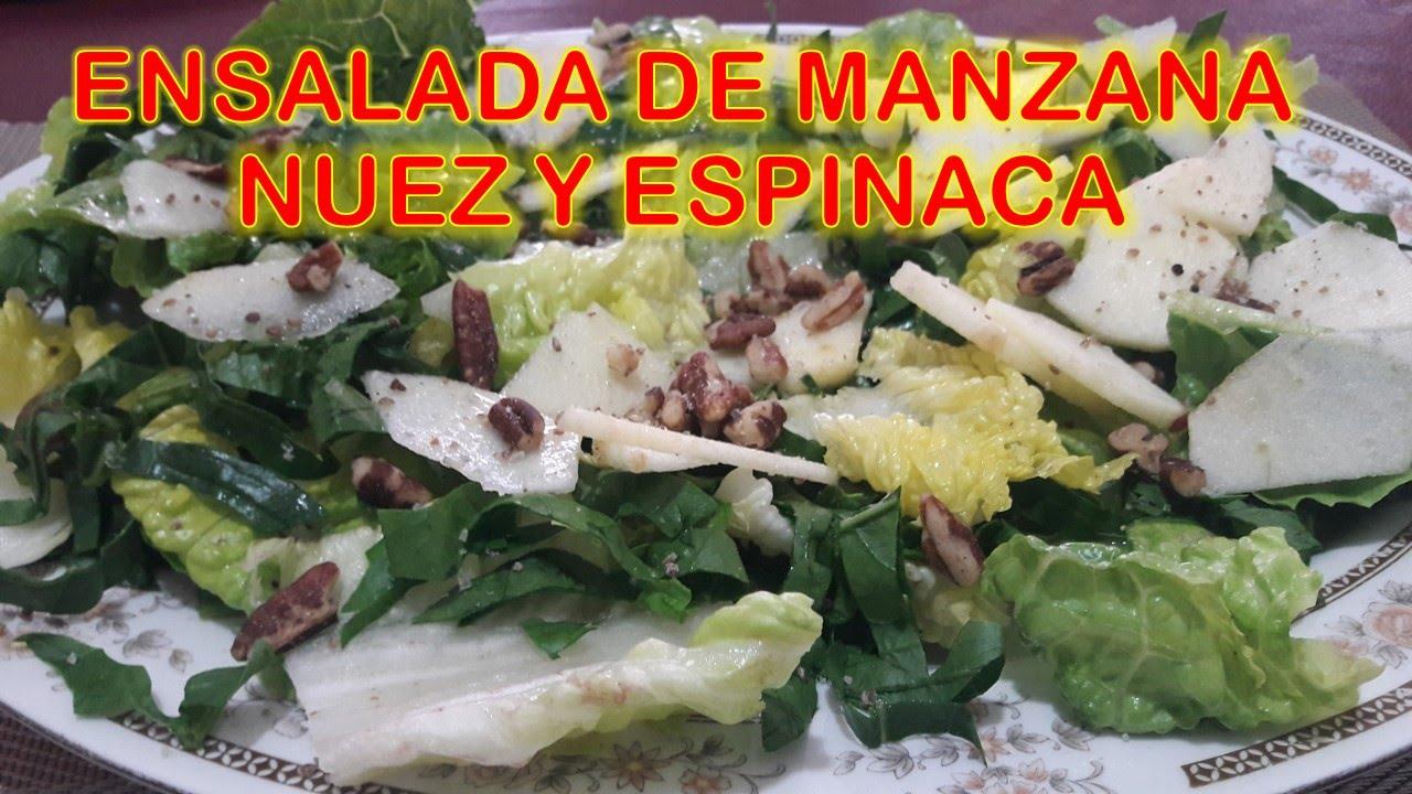 receta de ensalada de espinacas con nueces