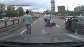 motorcycle crashes into a bump stop on the highway ouch