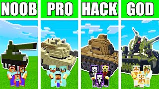 Minecraft: FAMILY TANK BUILD CHALLENGE - NOOB vs PRO vs HACKER vs GOD in Minecraft