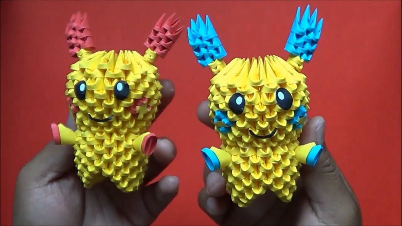 Origami 3D Minun y Plusle(Pokemon) - YouTube - photo#4