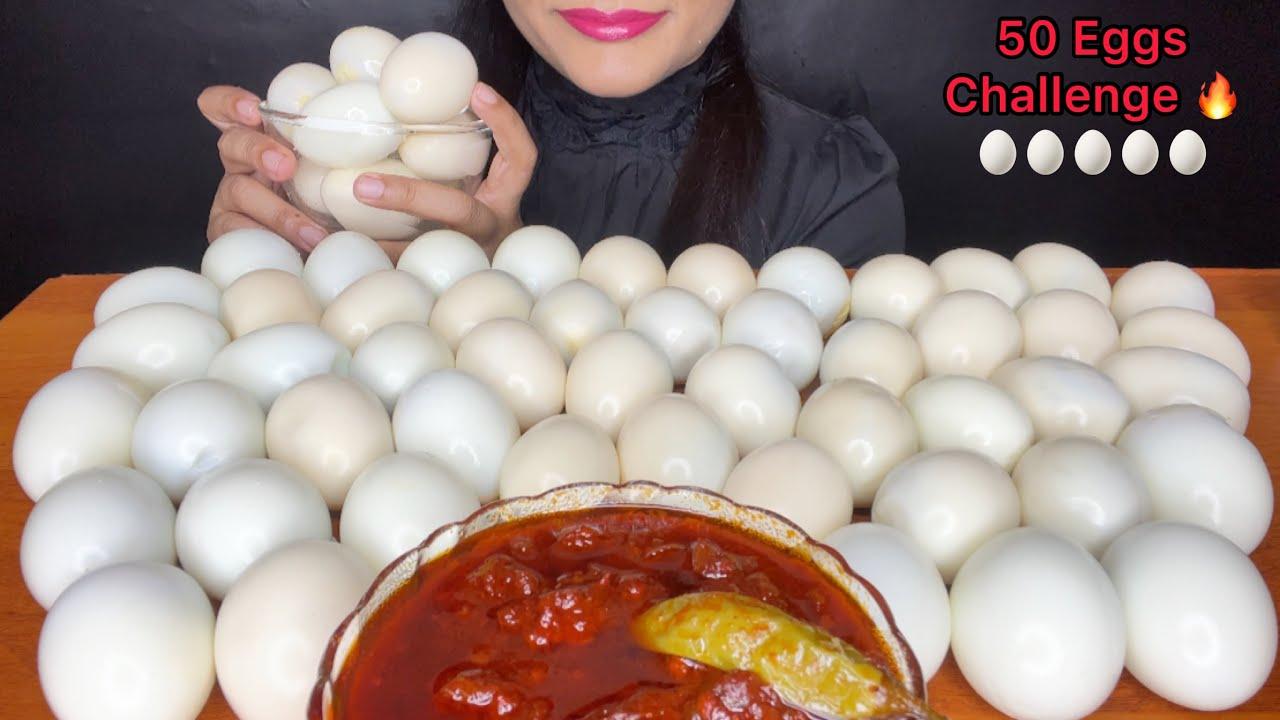 50 EGGS EATING CHALLENGE 🔥ASMR EATING 50 EGGS l spice asmr l