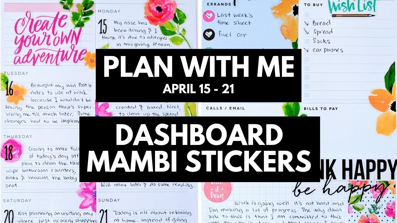 Planner Life: DASHBOARD Plan With Me April 15 - 21 (MAMBI Stickers)