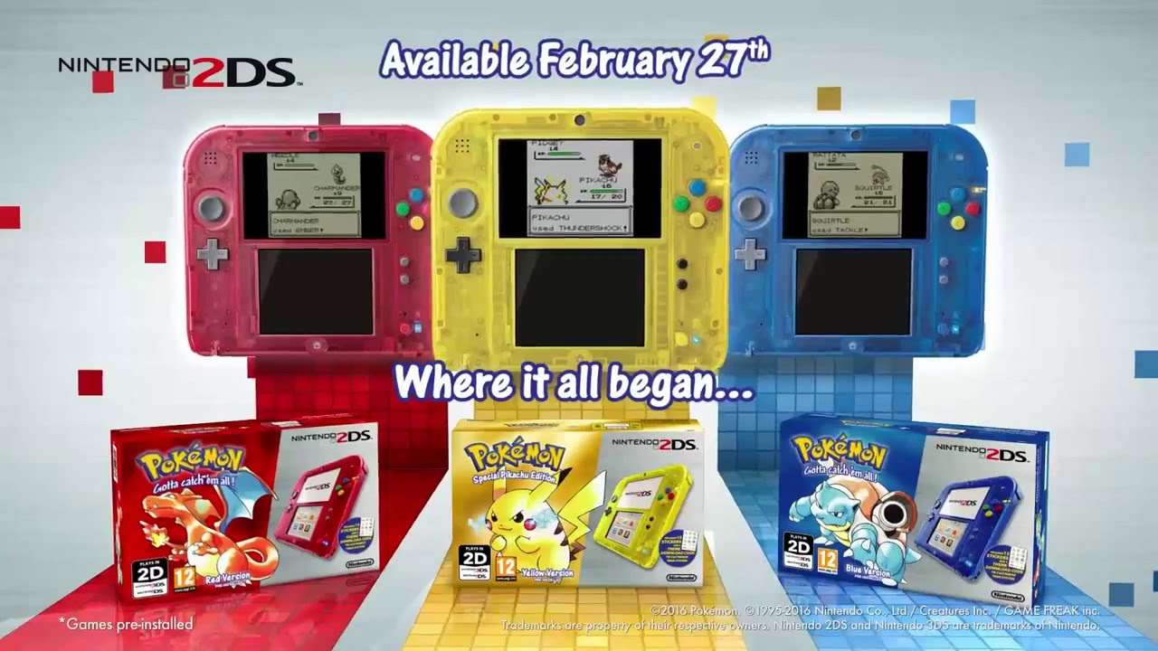 pokemon red yellow blue nintendo 2ds 3ds tvcm commercial uk british