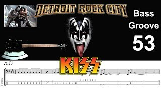 DETROIT ROCK CITY (KISS) How to Play Bass Groove Cover with Score & Tab Lesson