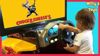 Happy Kid at CHUCK E CHEESE Playing Arcade Games Basketball Football Willys Toys