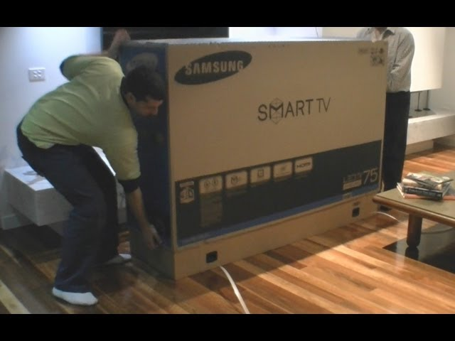samsung led tv 75 8000 series unboxing. Black Bedroom Furniture Sets. Home Design Ideas