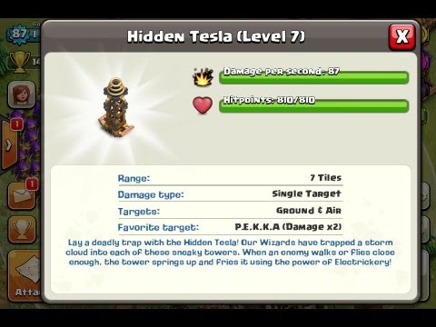 Clash Of Clans - Buying Tesla MAX LEVEL 7 With Gameplay