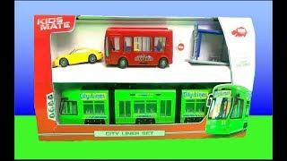 Дікі іграшки міста вкладиша трамвай, Порше, міський автобус #анбоксинг - відео для дітей