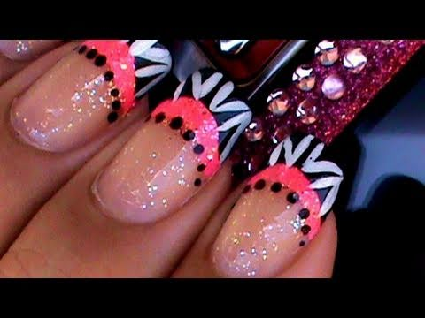 CRAZY PINK FRENCH MANICURE NAIL ART DESIGN TUTORIAL