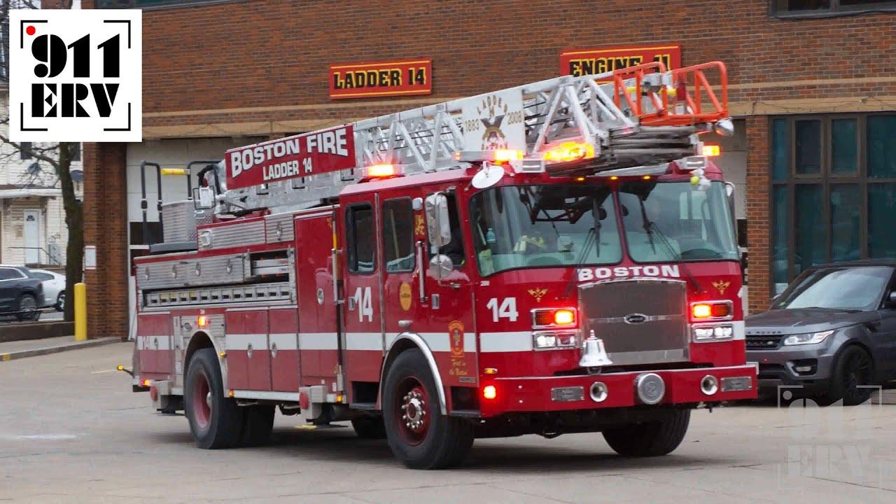 Boston Fire Ladder 23 Spare Responding   Fire truck videos