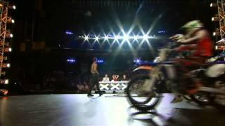 World Record 20 motorbikes on a bed of nails Space Cowboy - Australia Got Talent 2012