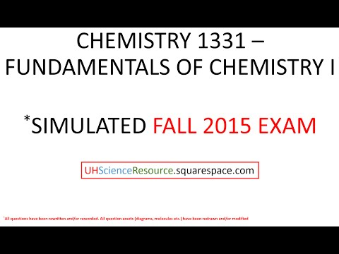 General Chemistry 1 (CHEM 1331) – EXAM 1 FALL 2015 SIMULATED