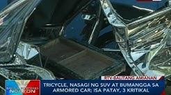 Tricycle, nasagi ng SUV at bumangga sa armored car; isa patay, 3 kritikal