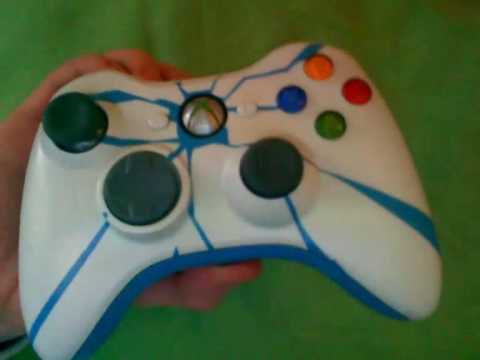 xbox 360 controller custom painted & bright blue led's ...