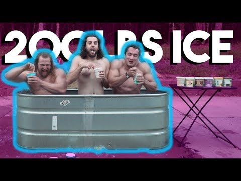 Ice Cream Ice Bath Brain Freeze Challenge | Clarence & Juji