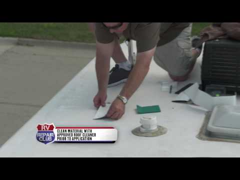Fixing A Hole In A TPO RV Roof With A Rubber Patch