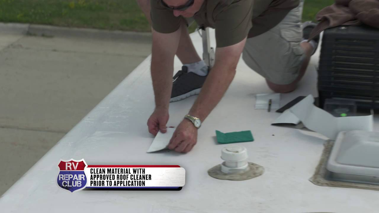 Fixing A Hole In A Tpo Rv Roof With A Rubber Patch Youtube
