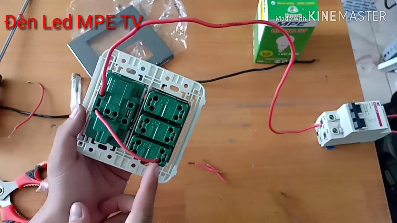 Cách đấu ổ cắm đôi 3 chấu và công tắc đèn Panasonic dễ dàng | Đèn Led MPE TV
