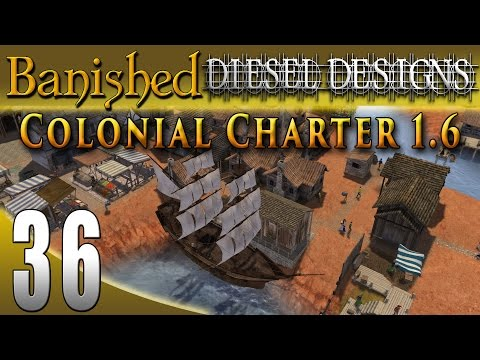 Banished Colonial Charter 1.6: EP36: Wharf & Ship!  Hunting Whales!  (City Building Series 60FPS)