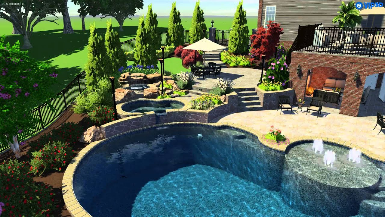 Swimming Pool Spa Waterfalls Outdoor Room Fountains Landscaping