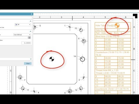 Hole Table Display Of The Origin Symbol Siemens Nx 120 Youtube