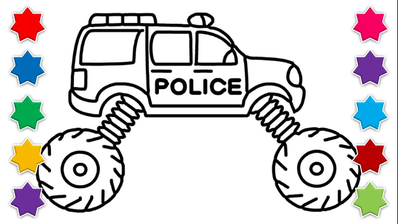 Police Car Drawing Learn How To Draw Toy Monster Truck Street Vehicles For Kids Coloring Youtube