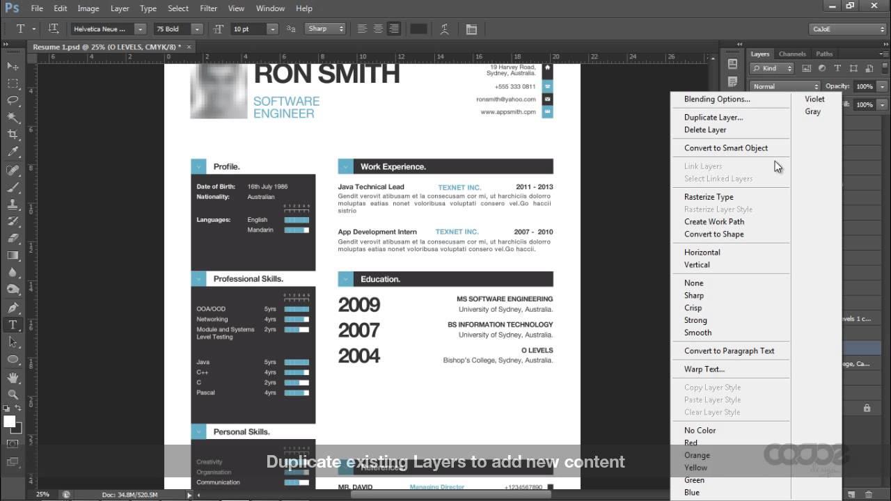 simple resume cv template and mini portfolio photoshop youtube