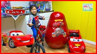 Mega Giant Egg Surprise Lightning McQueen Toys Opening with Ride On Car Toy!