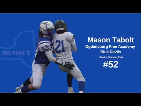 Mason Tabolt #52/54 LB (Class of 2019) Ogdensburg Free Academy Blue Devils (Section X)
