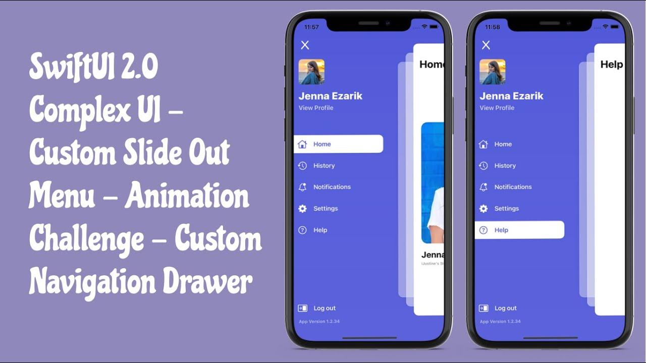 SwiftUI 2.0 Complex UI - Custom Slide Out Menu - Animation Challenge - Navigation Drawer - SwiftUI