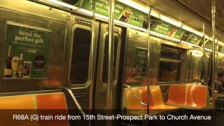 downtown r68a g train ride from 15th street prospect park to church avenue weekend hd