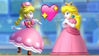 All Endings in New Super Mario Bros U Deluxe - Mario Luigi Peachette (All Characters & Reactions)