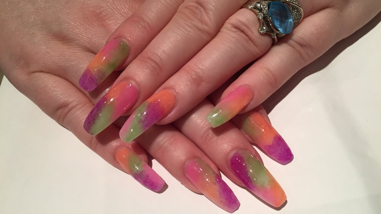 UV gel nails ballerina style- using acrylic powder as pigments - YouTube